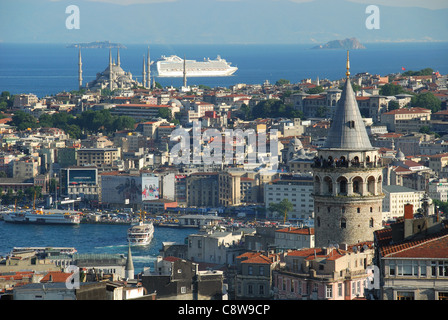 ISTANBUL, TURKEY. An evening view of the Galata Tower, Golden Horn, Blue Mosque and Sea of Marmara. 2011. - Stock Photo
