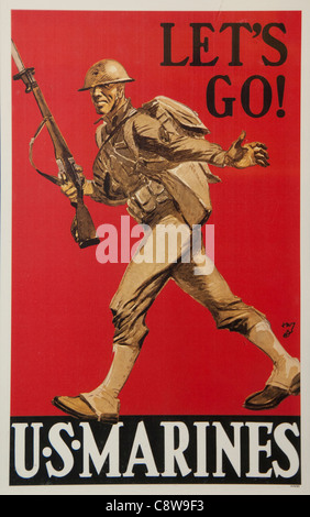 Let's Go US Marine Soldier Army world war 2 1940 1945 United states of America USA - Stock Photo