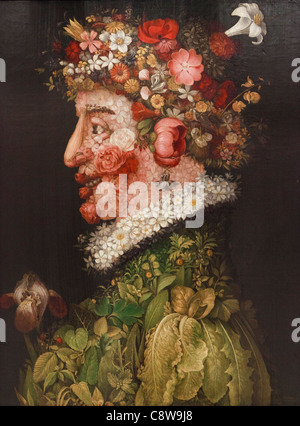 The Spring by Giuseppe Arcimboldo, after a work in the Museo de la Real Academia de Bellas Artes de San Fernando, - Stock Photo