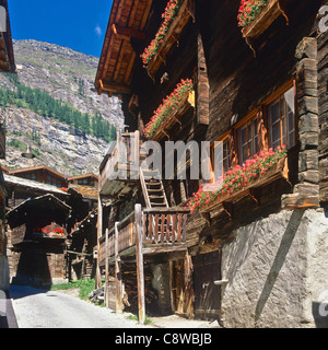 Traditional wooden houses Zermatt Canton Valais Switzerland Europe - Stock Photo