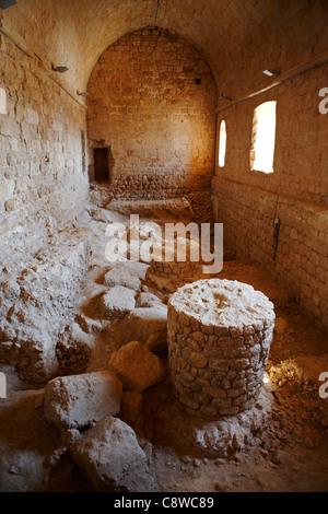 Interior of refectory in Miravet Castle. Miravet village, Catalonia, Spain. - Stock Photo