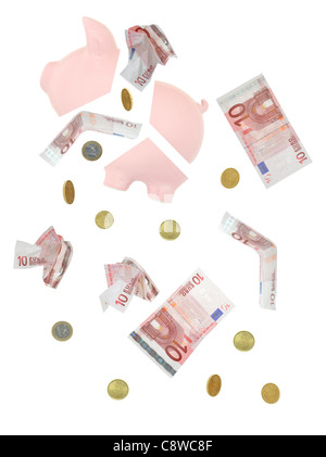 Piggy bank and euro bank notes and coins crashing down - Stock Photo