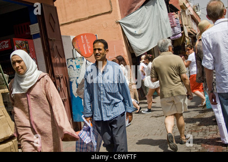 A Busy Street Scene in Marrakech Morocco. - Stock Photo