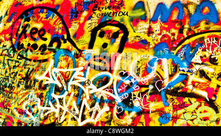 John Lennon Graffiti wall in Prague - Stock Photo