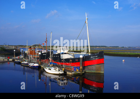 Irvine harbour with the 'Spartan' tug boat, berthed and decommissioned. Ayrshire, Great Britain - Stock Photo