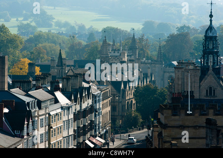 High Street seen from the top of University Church of St Mary the Virgin Oxford UK - Stock Photo