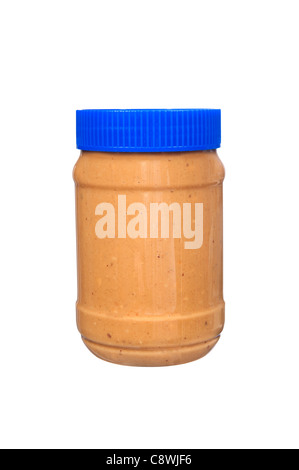 A new jar of creamy peanut butter isolated on white. - Stock Photo