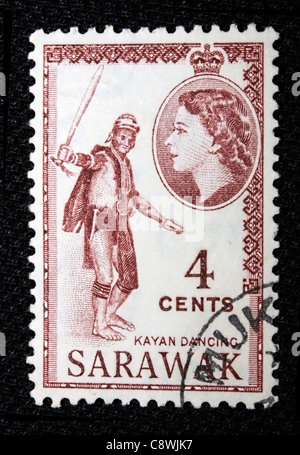 A postage stamp of Sarawak in black background - Stock Photo