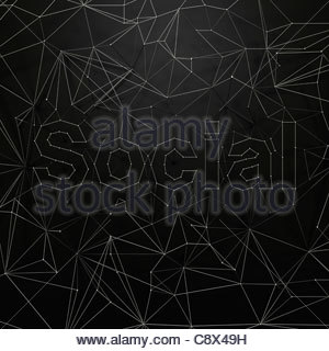 Network of dots and lines that spell 'social' - Stock Photo