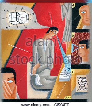 Businessman looking for solution in book - Stock Photo