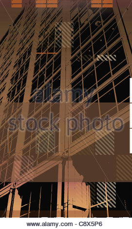 Square pattern on close up of office skyscraper - Stock Photo