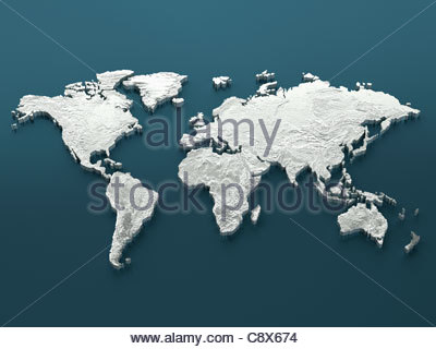 Silver world map on blue background - Stock Photo