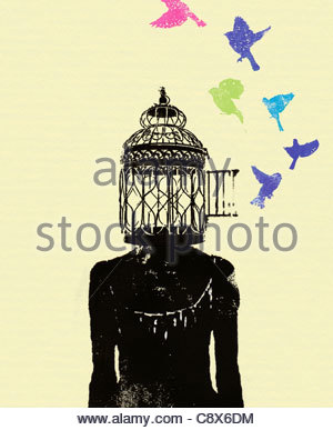 Birds flying out of woman's head birdcage - Stock Photo