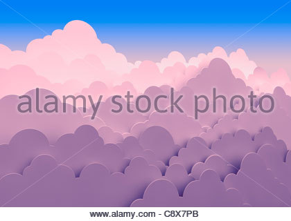Stacked pink clouds against blue sky - Stock Photo