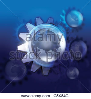 Globe in centre of cogs - Stock Photo