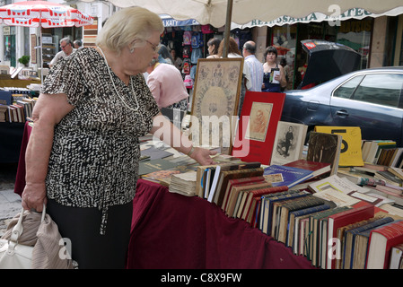 A woman inspecting books at a flea market, held on the last Saturday of the month, in Praça do Comércio, Coimbra, - Stock Photo