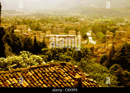Beautiful small green town in the alps from above, City Rovereto in Italy - Stock Photo