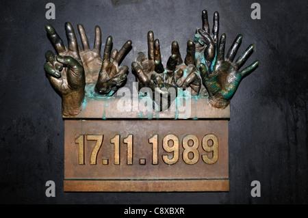 Prague, Czech Republic. Bronze memorial in Narodni (street) to commemorate the student protest of 17th November - Stock Photo