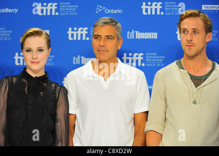 Evan Rachel Wood George Clooney Ryan Gosling atpress conferenceIDES MARCH Press Conference Toronto International - Stock Photo