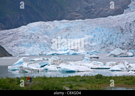 Tourists contemplating the Mendenhall glacier. Juneau. Alaska. USA - Stock Photo
