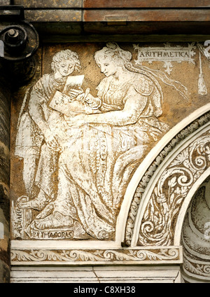 Prague, Czech Republic. Royal Gardens / Kralovska zahrada. Detail sgraffito on Ball Game Court / Micovna - Stock Photo
