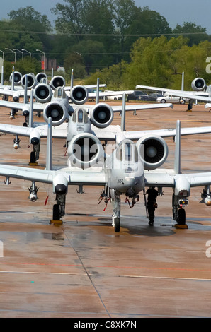 ALEXANDRIA, La. -- A-10 Thunderbolt II sit on the ramp here for Hawgsmoke 2004 , a biannual A-10 bombing and tactical - Stock Photo