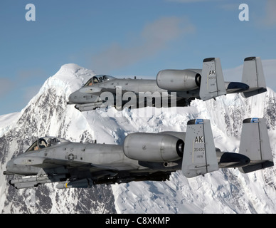Two A-10 Thunderbolt IIs fly over the Pacific Alaska Range Complex April 24 during live-fire training. The A-10s - Stock Photo