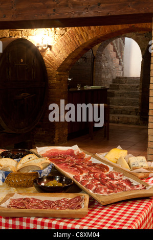 traditional Italian meat and cheese platters - Stock Photo