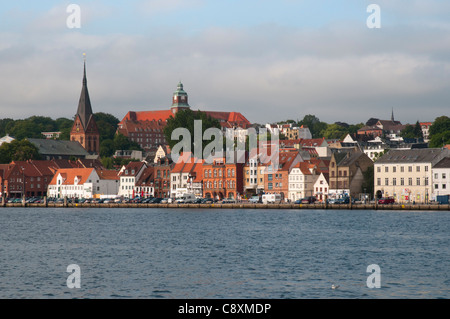 Cityscape view Flensburg, Flensburg Fjord, Baltic Sea, Schleswig-Holstein, Germany, Europe - Stock Photo