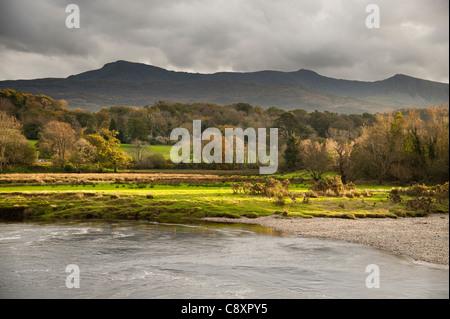 Cadair Idris seen from the River Mawddach at LLanelltyd, snowdonia national park, Gwynedd, North Wales UK, autumn - Stock Photo