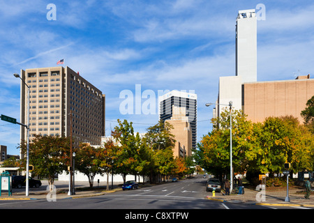 The city skyline from 16th Street in the Civil Rights District, Birmingham, Alabama, USA - Stock Photo
