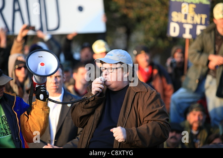 Denver, Colorado - Academy Award winning filmmaker and bestselling author Michael Moore addresses a crowd of Occupy - Stock Photo