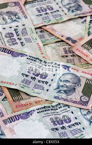 Indian 100 rupee notes - Stock Photo