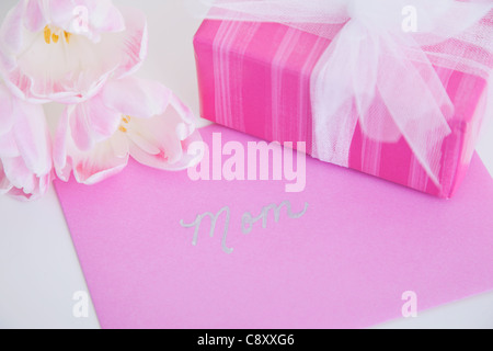 Studio shot of gift, flowers and greeting card for mother - Stock Photo