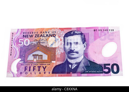 Dollar note in New Zealand currency, isolated over white background. - Stock Photo