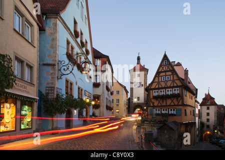 Germany, Bavaria, Romantic Road, Rothenburg ob der Tauber, Plonlein and Siebers Tower - Stock Photo