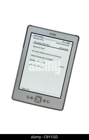 UK, Britain, Europe. New Amazon wifi Kindle ebook reader books list page on a white background - Stock Photo