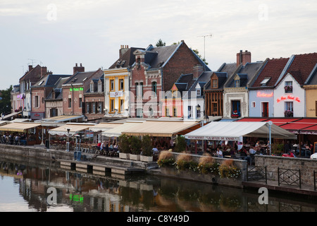 France, Picardy, Amiens, Waterside Restaurants at St.Leu Area - Stock Photo