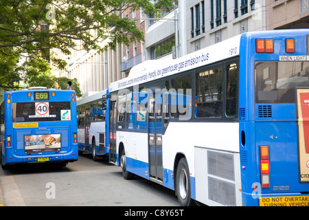 traffic congestion in sydney with many buses competing for road space,australia - Stock Photo