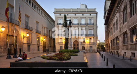 Seat of Government at Plaza de Manises in old city center of Valencia, Spain - Stock Photo