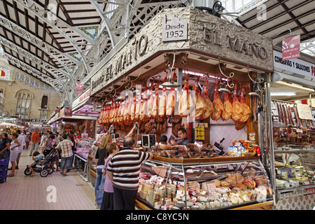 Central market hall , Delicatessen, Jamon, Mercado Central, Valencia, Spain - Stock Photo
