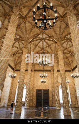 La Lonja de la Seda, UNESCO World heritage, silk exchange, columns, Valencia, Spain - Stock Photo