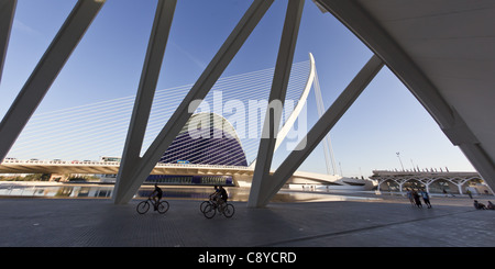 Agora, Puente de l Assut, bridge, City of sciences, Calatrava, Valencia, Spain - Stock Photo