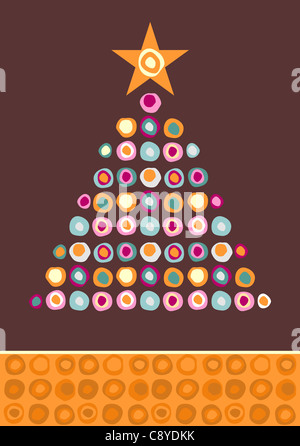 Christmas tree made of multicolored circles with a star on the top on purple background. Vector file available. - Stock Photo
