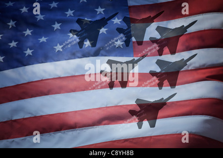 Close-up of American flag with silhouettes of F-16 airplanes - Stock Photo
