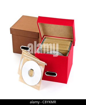 Storage boxes for compact discs isolated on white background - Stock Photo