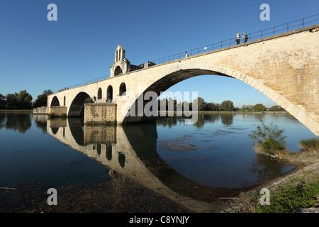 Pont d'Avignon - the famous medieval bridge in Avignon, France - Stock Photo