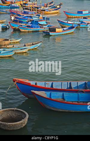 Asia, Vietnam, Nha Trang. Cai River Estuary. Nha Trang's fishing fleet moors on the Cai River just north of the - Stock Photo