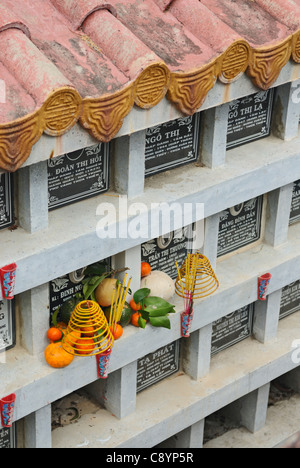 Asia, Vietnam, Nha Trang. Long Son Pagoda. Tombs.... - Stock Photo