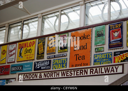 Vintage advertising signs at Quainton Station, UK - Stock Photo